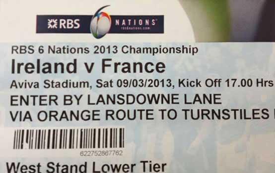 ticket d'entrée au stade Aviva Stadium pour Irlande France