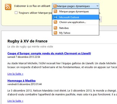 Instructions pour s'abonner via flux RSS