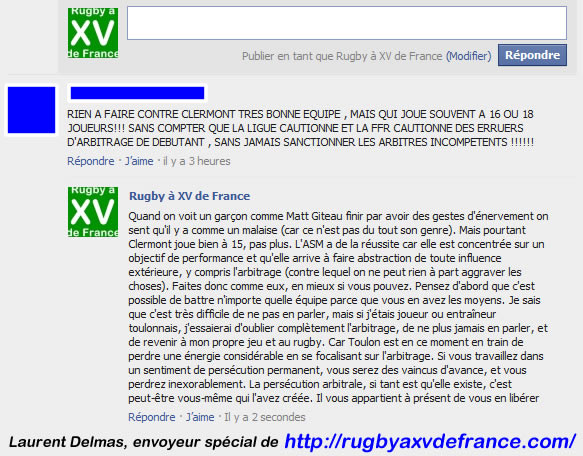 commentaire rugby sur Facebok